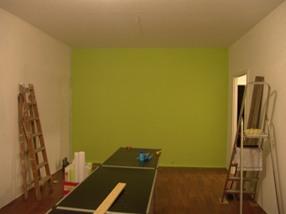 grüne Wohnzimmerwand