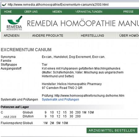 Hundescheiße für Homöopatie kaufen