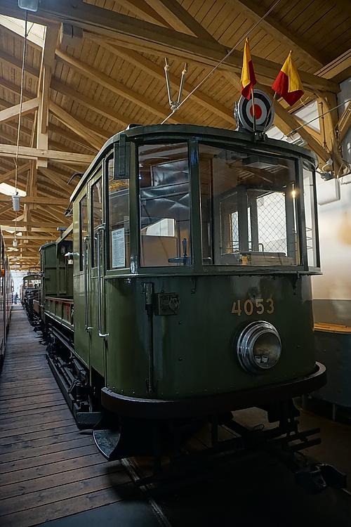 alter Strassenbahn-Bauzug im Straßenbahnmuseum Prag