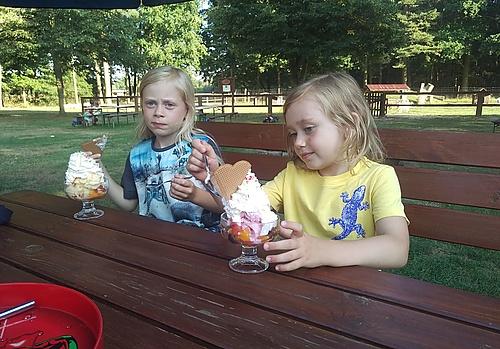 Eisessen im Ziegen- und Wildtierpark in Thräna