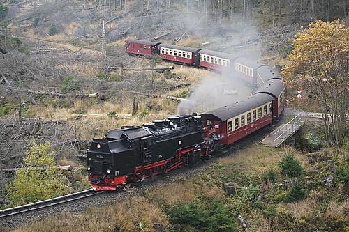 Brockenbahn quert Eckerlochstieg am Brocken