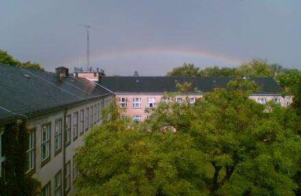 Regenbogen über dem Barkhausenbau, TU-Dresden